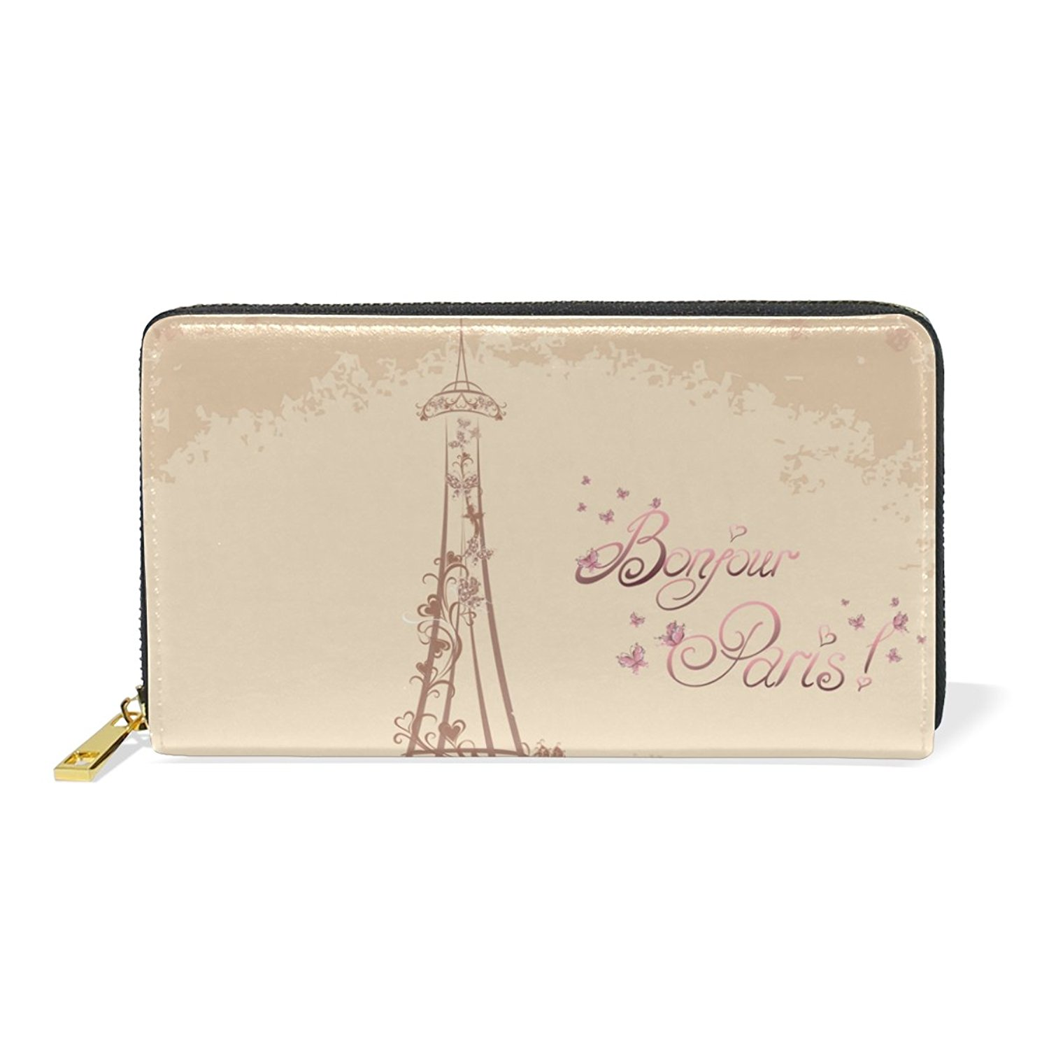 MAPOLO Bonjour Paris Tower Eiffel And Bicycle Print Womens Clutch Purses Organizer And Handbags Zip Around Wallet