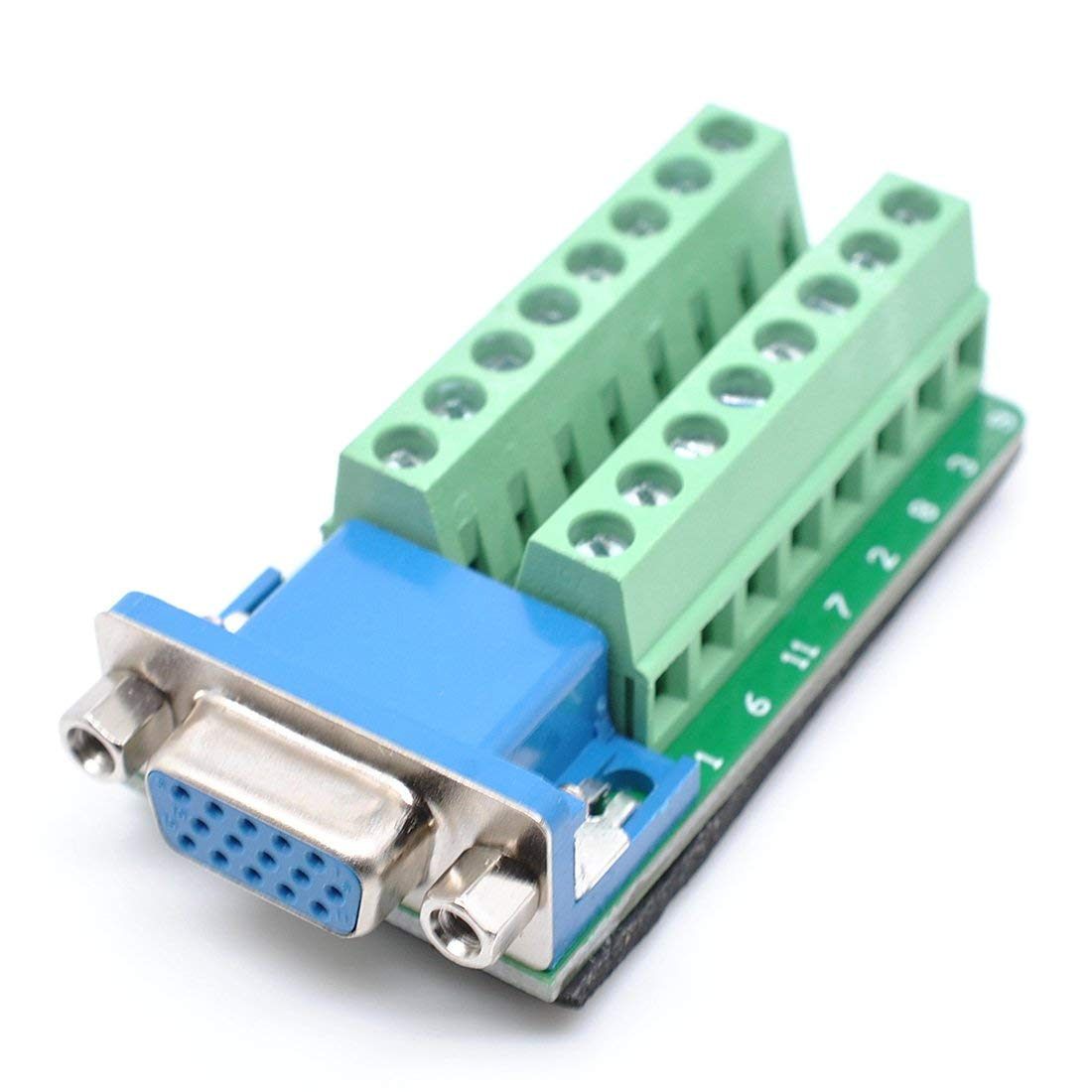 DB15 D-SUB Female with Nut VGA3+9 15 Pins Port to 2 Row Terminal Breakout Board