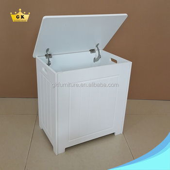 New Storage Chest Cabinet White Painting Wooden Basket Laundry Bin Drop Test Ng