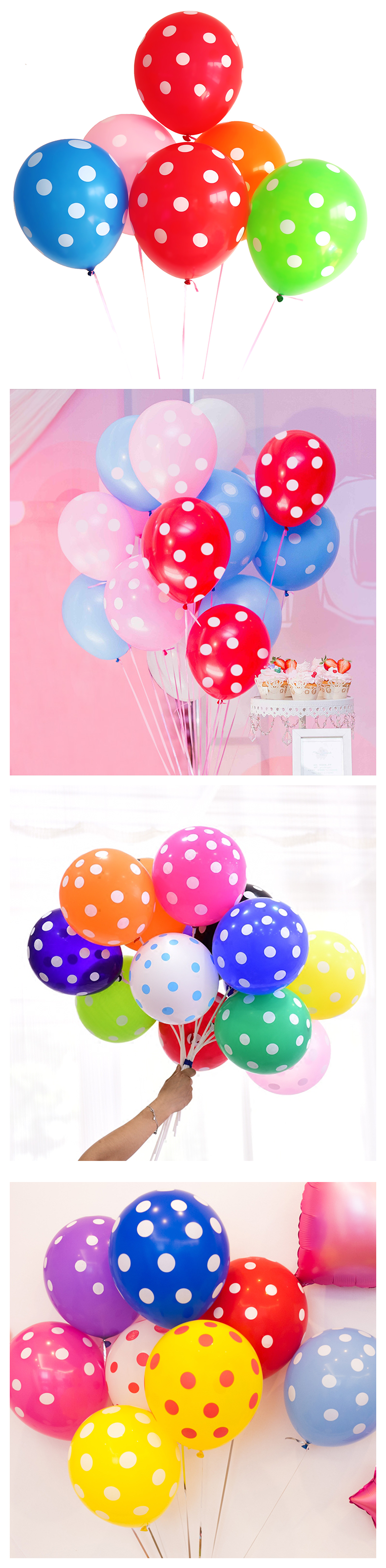 "10"" 12'' standard polka dot  print helium latex Balloon helium for party balloons festival decoration"
