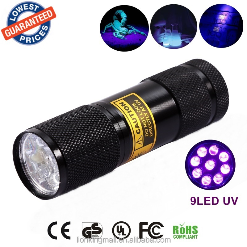 AloneFire 9LED UV Light 395nm portable UV led Flashlights Torch ultraviolet light to detect light lamp for 3x AAA Dry battery