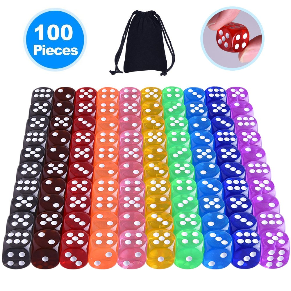 Austor 100 Pieces 6-Sided Dice Set (Free Pouch), 10 Different Colors 16mm Acrylic Dice for Tenzi, Farkle, Yahtzee, Bunco or Teaching Math
