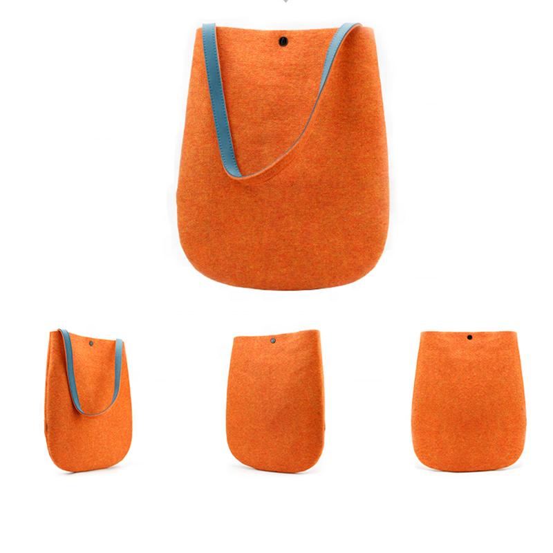Bolso elegante del fieltro de la lana del 100% del diseño del proveedor de China para las mujeres se puede personalizar con el mango de cuero