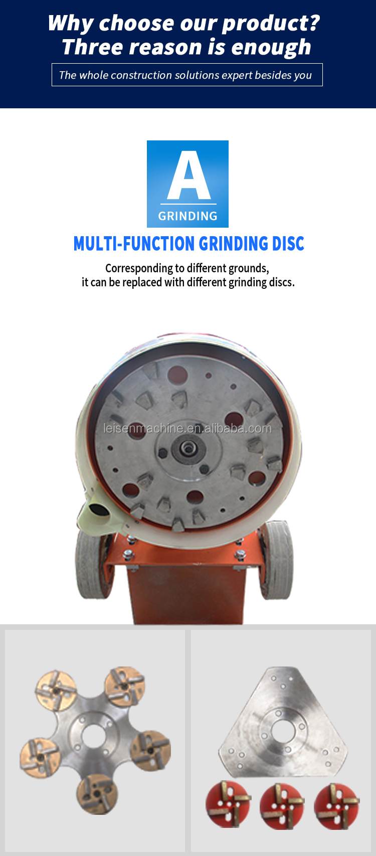 Floor polishing machine for epoxy floor surface concrete grinder