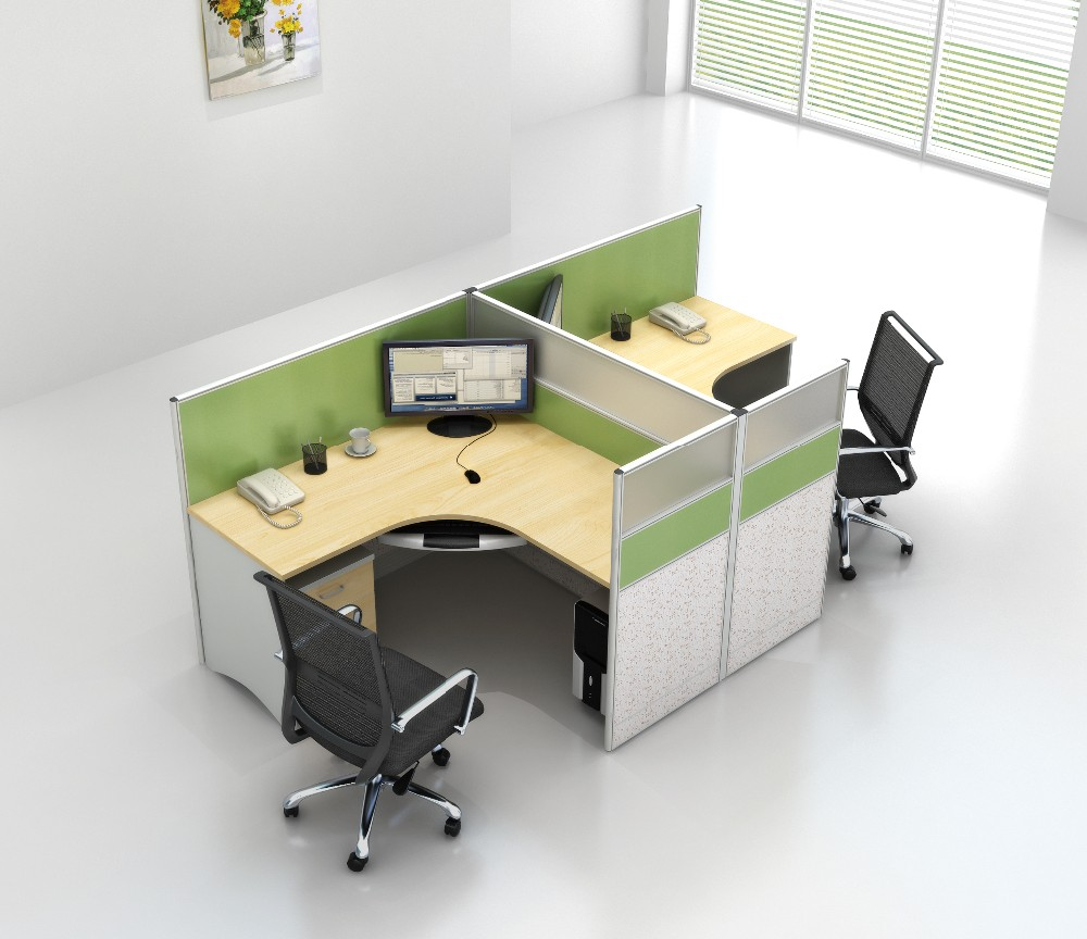 Office Table For 4 Person: Modern Design Cubicle L Shape 4 Person Office Workstation