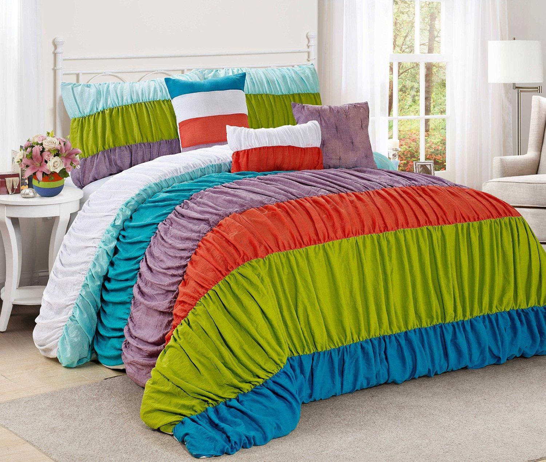 7 Piece CELENE colorful stripe ruffled Comforter Set- Queen King Cal.king Size (Queen, Rainbow)