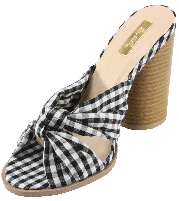 02c177ee811 Get Quotations · Qupid Women s Bondi-36XX Checkered Mark Peep Toe High Heel  Mules Sandals