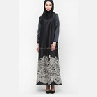 New arrival fashion design long sleeve printed satin black abaya maix muslim dress