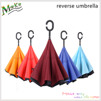 Windproof reverse folding C handle self standing inside out rain protection inverted umbrella