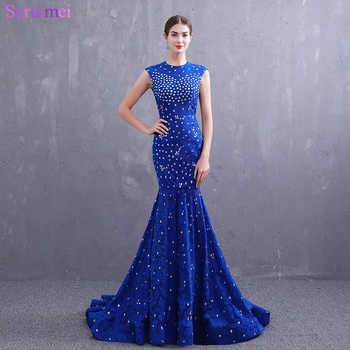 Real Photos Royal Blue Evening Dresses Lace Beaded Crystals O Neck with Cap Sleeves Mermaid Evening Gown Backless Prom Dresses