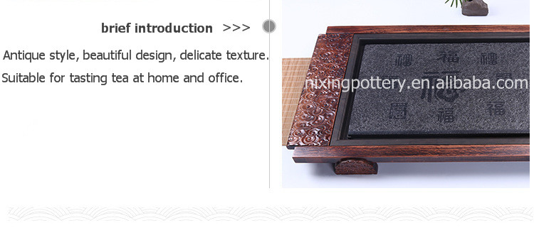 Cheap High Quality Black Stone Solid Wood Tea Tray for Table Design