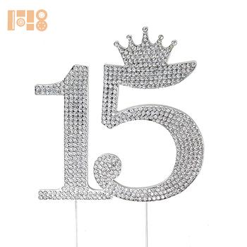 15 Quinceanera Diamantes De Imitacion De La Corona Monograma Topper