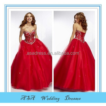 New Style Red Ball Gown Prom Dress For Fat Girl Beaded Long Prom