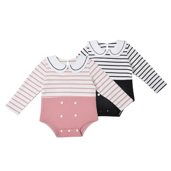 Custom Long Sleeves Simple Stripe Baby Romper Autumn Infant Clothing