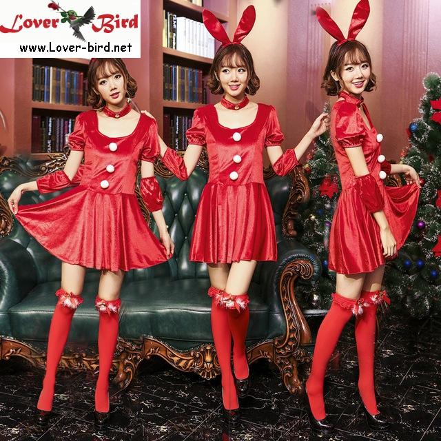 24f77b896 Mulheres Sexy Halloween Costumes de Natal Trajes de Papai Noel Vermelho  Coelho Cosplay Vestido Headwear 4