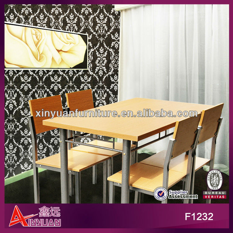 F1232 2013 new design red oak wooden rectangular simple dining sets hot sell wooden furniture