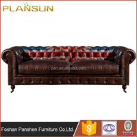 Three seats cheapest price Classic Chesterfield handmade vintage Kensington Leather Sofa