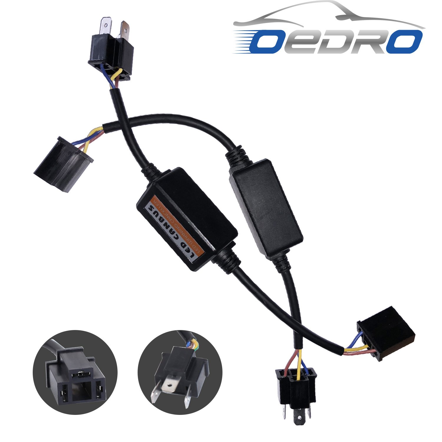 Pack of 2 CAR ROVER H4//9003//HB2 Decoder Canbus Resistor Anti-flicker Error Free Harness for LED Headlight Conversion Kit Warning