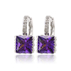 28138- xuping fashion guangzhou jewellery, rhodium plated purple single big square zircon stone earrings, seoul stone earrings