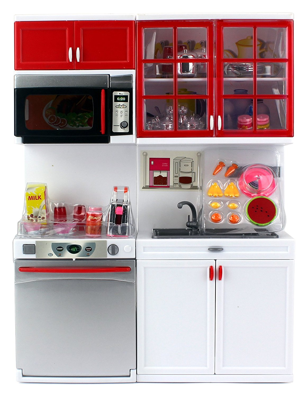 Buy Red Modern Kitchen 16 Battery Operated Toy Kitchen Playset Perfect For Use With 11 12 Tall Dolls In Cheap Price On Alibaba Com
