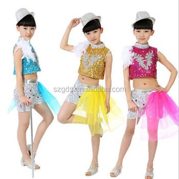 Niños trajes de etapa danza del jazz de las muchachas sin mangas sequined  danza rendimiento ropa fdda53182e3
