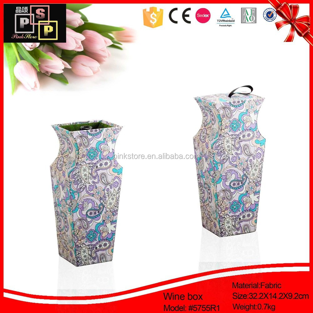 Delicate flower vase shaped pu leather packaging box