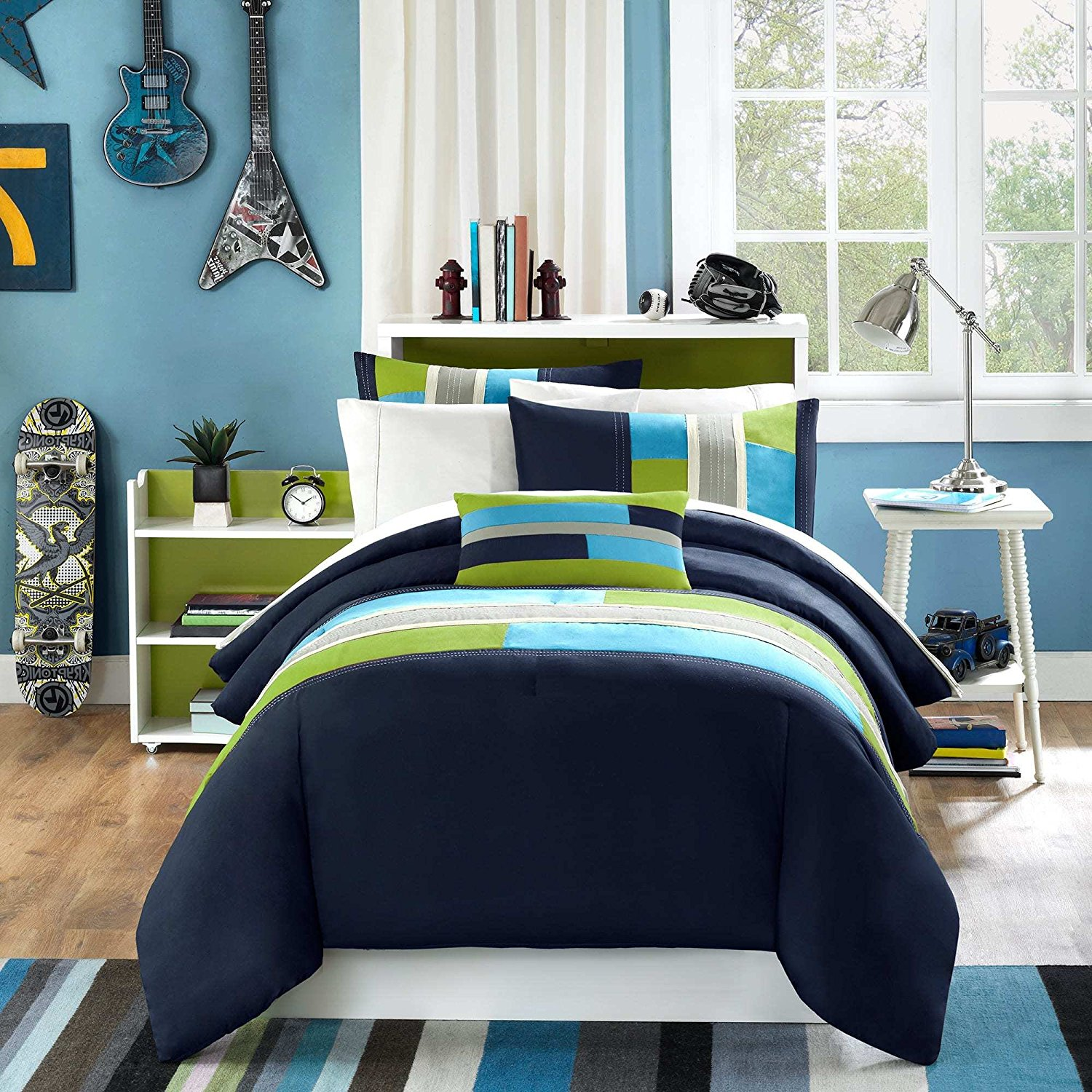 4 Piece Full Queen Navy Teal Blue Olive Green Rugby Striped Comforter Set, Geometric Pieced Pattern Grey Stripes Rectangle Blocks Circuit Design, Vibrant Colorful Adult Bedding, Polyester