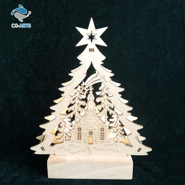 Hot selling Christmas decoration wooden lighting handicrafts