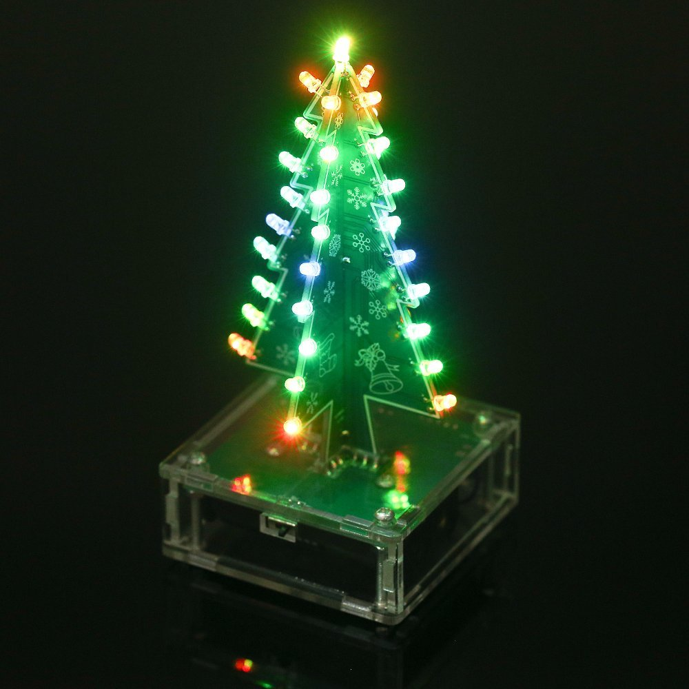 get quotations kkmoon diy christmas tree colorful led light acrylic with music electronic learning kit module xmas decoration