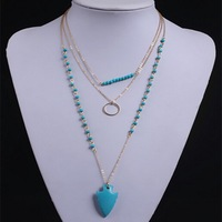 Trade products fashion bohemian necklace turquoise arrow multilayer tassel necklace sweater chains