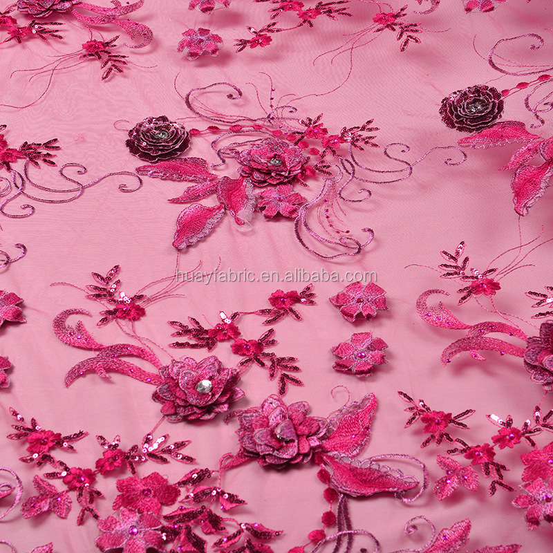 2016 3d Flower Lace Tulle Fabric swiss lace fabric african george FB0016