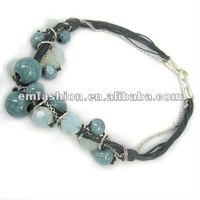 2012 Beads costume jewelry blue agate necklace leather cords necklace