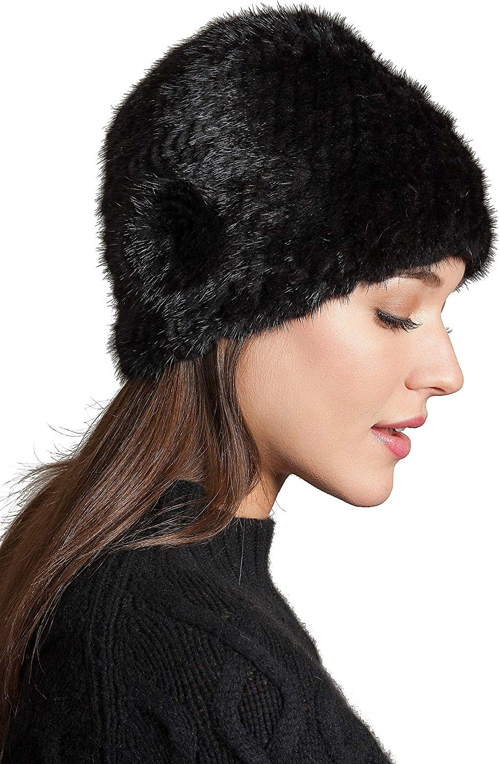 43bdb43fc5b Get Quotations · Overland Sheepskin Co Knitted Mink Fur Beanie Hat with Fur  Flower