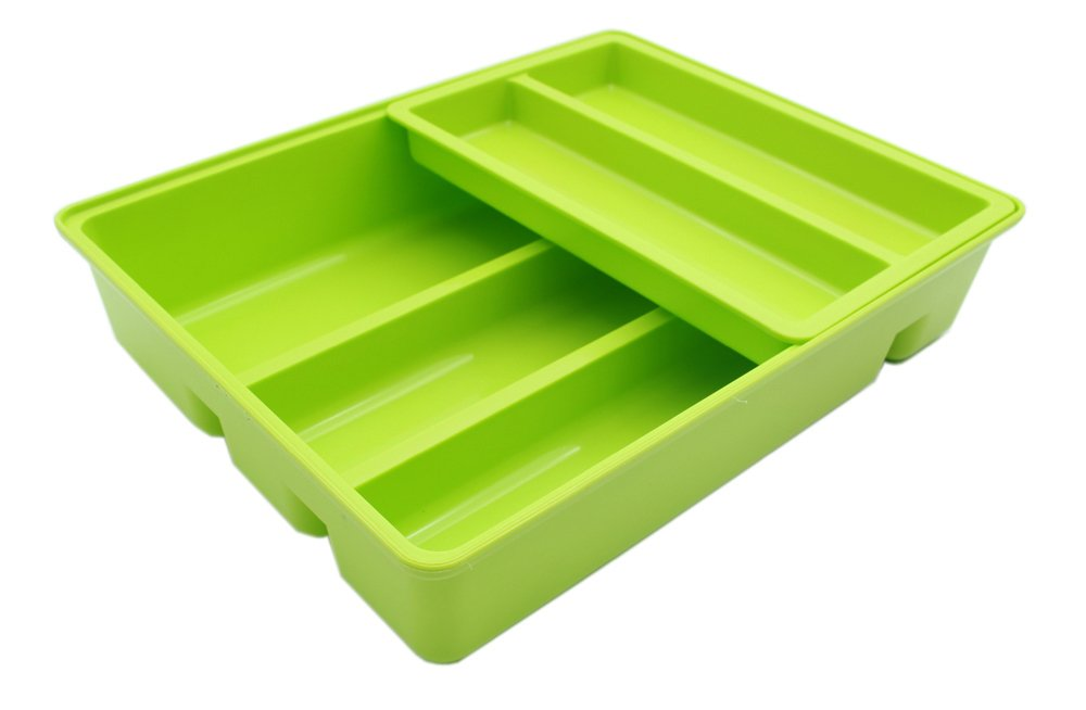 Mabalo Double Movable Cutlery Tray, 2 in 1 Cutlery Drawer Organizer Holder, 12 x 9.5 x 2.6, Colorful (Green)