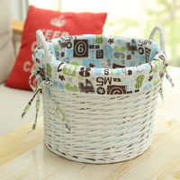 Best selling white small woven willow dirty laundry basket