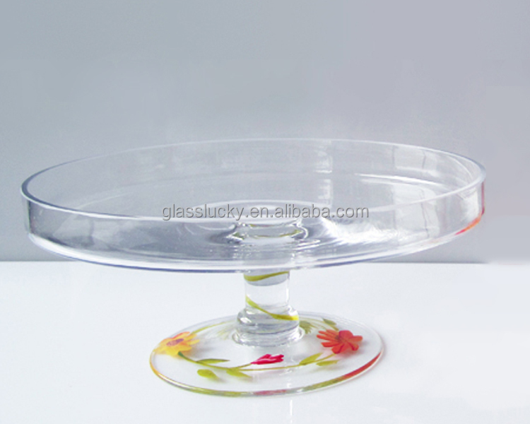 Different colored decal glass cake cover with stand buy for Colored glass cake stand