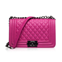 New Elegant Women Quilted PU Leather Crossbody Chain Lady Shoulder Bag