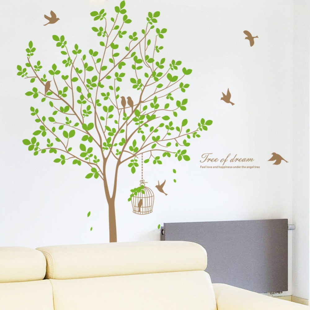 <font><b>Elegant</b></font> Vinyl Tree Wall Decals Stickers <font><b>Home</b></font> <font><b>Decor</b></font> Mural Wall Stickers Livingroom TV Background Removable Decals Free Shipping
