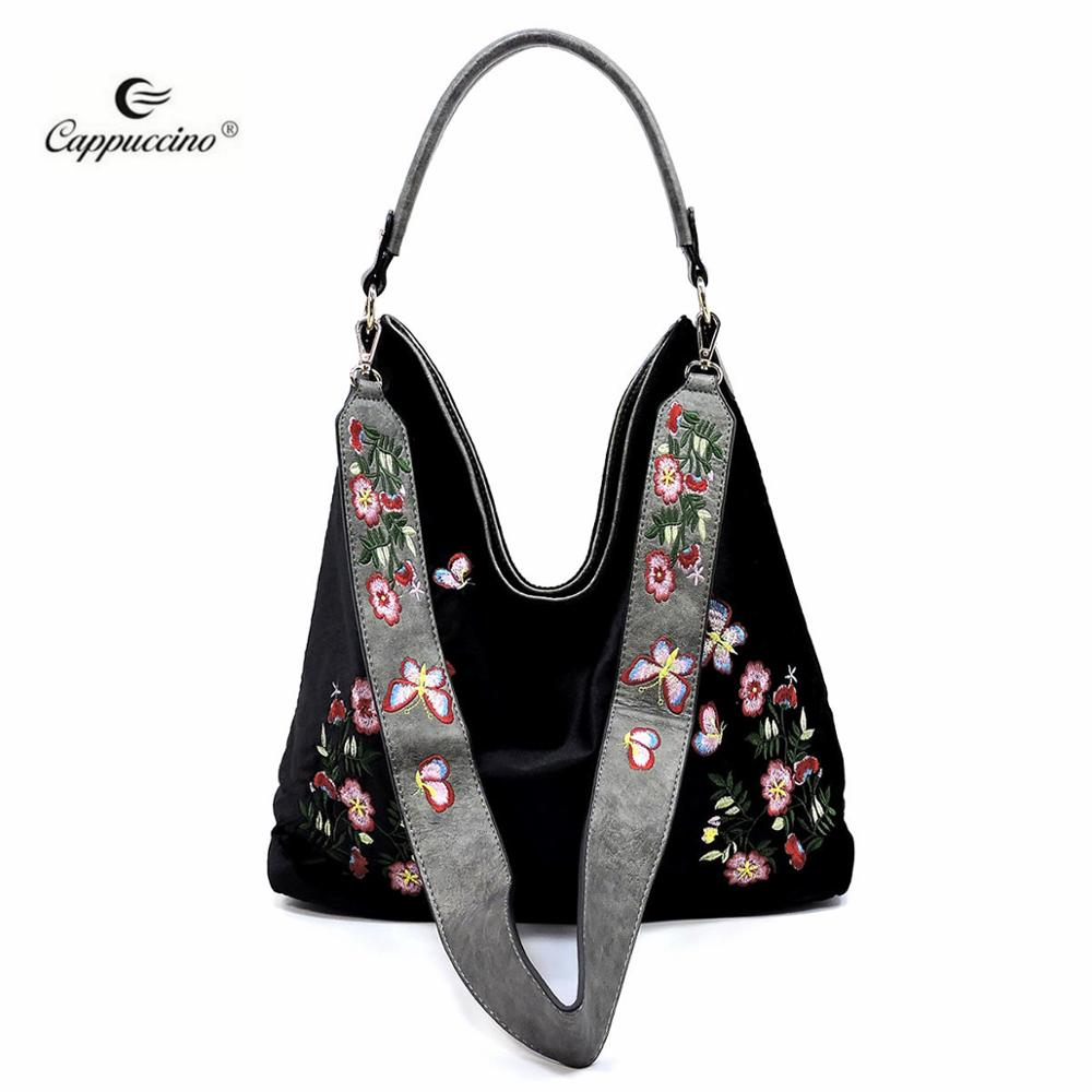 7203f9a0d0 2018 SS Flower Embroidered Velvet Reversible handbags for ladies with  Guitar Strap online shopping india