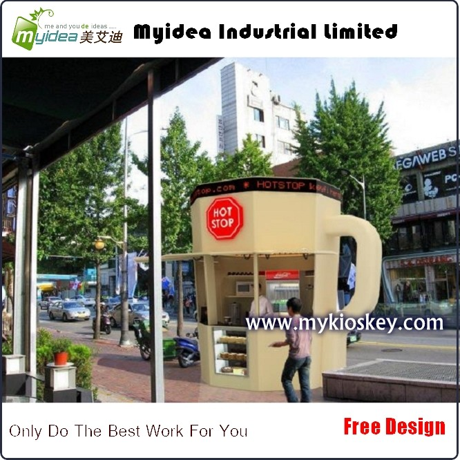 Outdoor unique coffee vending kiosk design with coffee cup for Exterior kiosk design