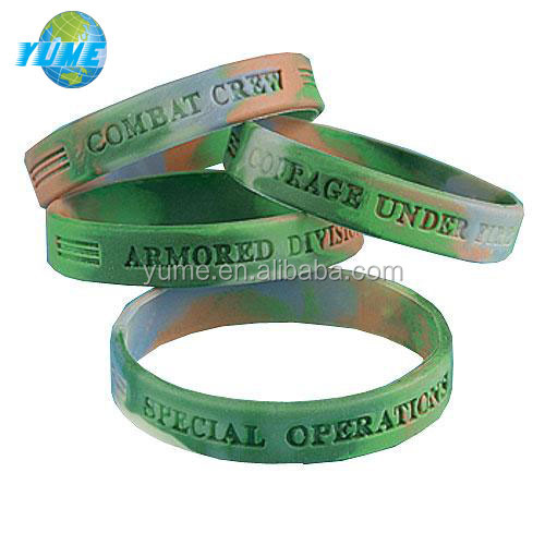 Camouflage Army Silicone Wristbands Rubber Military Bracelets Hot In Usa