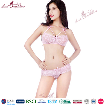 37f612a27a421 Secret Temptations woman sexy pink lace nighty sexy netted bra  panty women  hot sexy underwear set