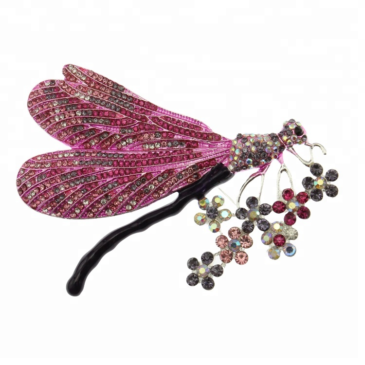 90mm multicolore strass émail grande libellule animal broche