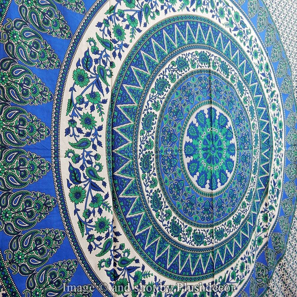 Blue Hippy Tapestry Peacock Mandala Tapestries Hippie Throw Cotton Handmade Bohemian Wall Hanging Boho Psychedelic Bedsheet Queen Mandala Tapestry Bedspread Wall Art Decor