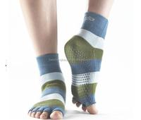 Custom Wholesale Women's Anti-slip Sole Half Toe Yoga/Pilates Socks,Non Slip Socks,Five Toe Socks