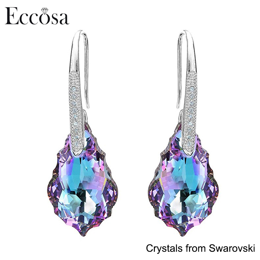 Eccosa Fashion 925 Sterling Silver CZ Baroque Drop Hook Earrings Adorned Made with Swarovski Crystals