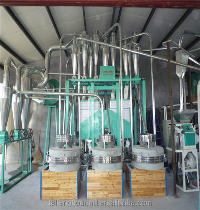 Wheat flour mill machine milling by round stone