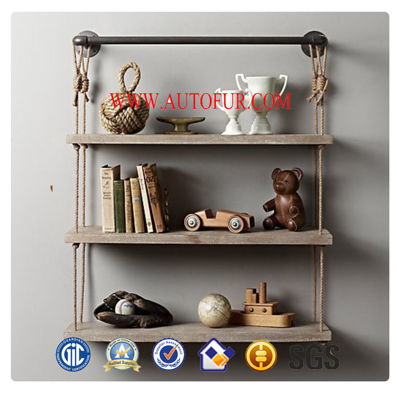 French Country Style Pine wooden Rack WallShelf