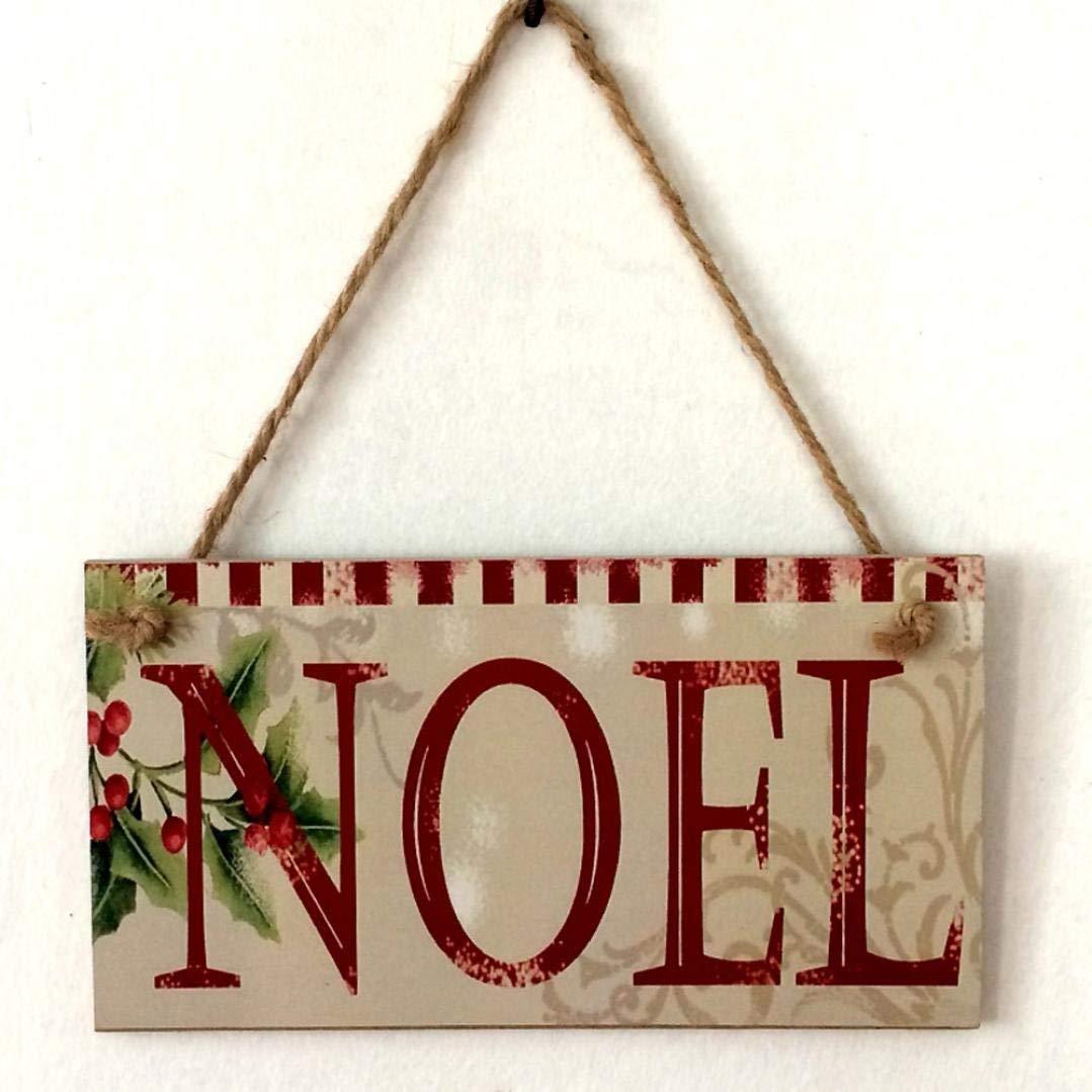 Lanhui_New!!! Happy Christmas Wooden Pendant Door Decorations Hanging Party Decoration (D)