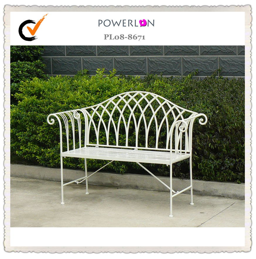 White Folding Metal Garden Bench Wrought Iron High Quality Garden